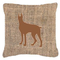 """Caroline's Treasures Great Dane Burlap Indoor/Outdoor Throw Pillow Size: 14"""" H x 14"""" W x 4"""" D, Color: Brown"""