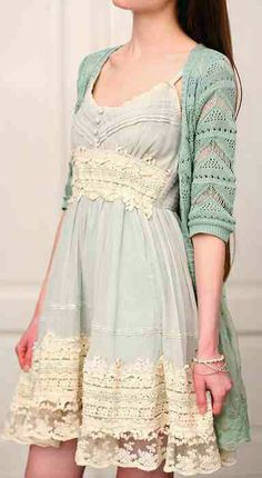 lacy dress and cardigan