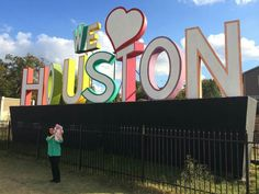 We ♡ Houston Entrance Signage, Wayfinding Signage, Business Signs, Sign Design, Gd, Houston, The Neighbourhood, Neon Signs, World