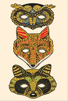 Forest animal masks by C. Keegan - A Great splash of color for animal lovers!