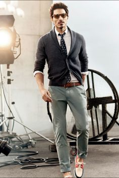 Gray Cotton Shawl Collar Cardigan, Pale Green Chinos, and Boat Shoes. Men's Spring Summer Fashion.