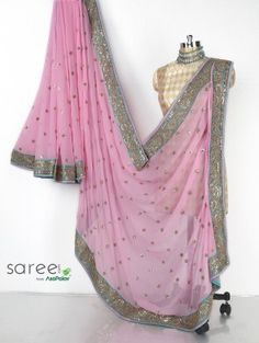 Pink Georgette Saree with Mirror and Surma Work