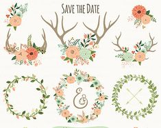 "Antler Floral Print | Wedding Invitation. ""RU STIC WEDDING CLIPART"". Floral Antlers, Floral ..."