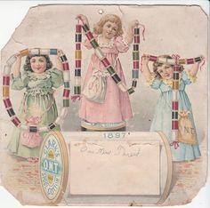 Clark's Thread Ont Spool Cotton 3 Girls Victorian Trade Card 1897