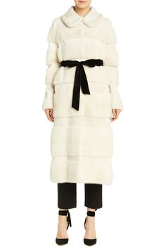 Silk white mink coat with laser shaved insert. Ribbon self tie belt. Silk lined. MADE IN USA. Monique Lhuillier Bridal, Ribbon Belt, Fur Coat, Mink Coats, Velvet Ribbon, Fashion 2017, Bridal Collection, Shop Now, Ready To Wear