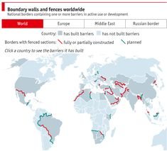Borders with walls and fences, World map