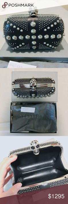 Alexander McQueen Studded Britannia skull clutch 100% Authentic ! perfect condition and comes with original box and dust bag. Original price tag also included. bought at the beverly hills Alexander McQueen retail shop. Alexander McQueen Bags Clutches & Wristlets