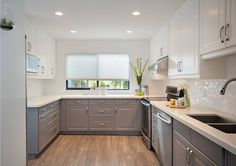 White Upper Cabinets and White Countertops with Grey Base Cabinets