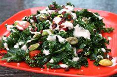 Kale salad with garlicy pecan butter dressing #rawfood #vegan