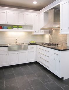 Gray Kitchen Floor Retro Tables Creamy White Cabinets Paired With Supreme Quartzite Frosted Glass Subway Stainless Steel Thetileshop Tile Backsplash