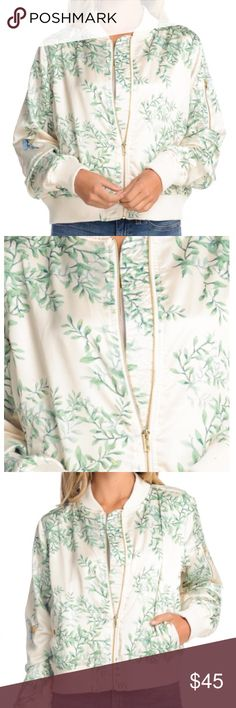 Gold Leaf Print Bomber Jacket  Comment closet name to be notified when in stock. Brand new. Jackets & Coats