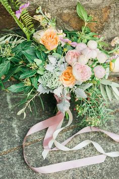 Pale Pink And Peach Bouquet   Samantha Ong Photography on @polkadotbride via @aislesociety
