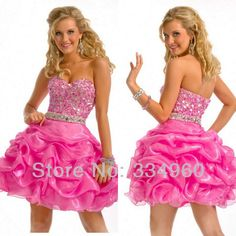 sweet 16 ball gown hot pink ruffles rhinestone decorated wasitband mini short organza-in Graduation Dresses from Apparel & Accessories on Aliexpress.com $92.00
