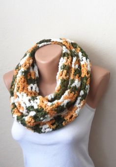 green white orange knit infinity scarf multicolor circle scarf