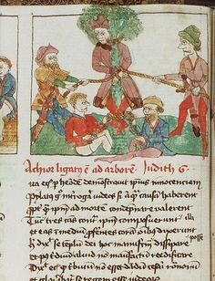 Achior vastgebonden aan een boom bij de stad Bethuliah / Achior is tied to a tree near the city of Bethuliah