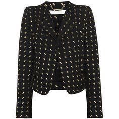 Chloé Herringbone silk-blend blazer ($1,115) ❤ liked on Polyvore featuring outerwear, jackets, blazers, coats & jackets, coats, black, black jacket, open front jacket, herringbone blazer and black blazer