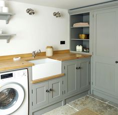 We design and make award-winning beautiful handmade kitchens. Albans, Hertfordshire or Felsted, Essex. Laundry Room Cabinets, Kitchen Cabinets, Utility Room Designs, Butler Sink, Deep Sink, Hidden Rooms, Handmade Kitchens, Shaker Style, Room Colors