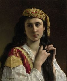Charles-Amable Lenoir (French 1860–1926) [Realism] Day Dreams  Oil on canvas, 22 x 18 1/2 inches  Signed lower left: C.A. Lenoir  2012.9 another favorite from the Dahesh Museum