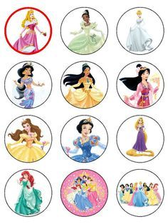 Disney Princess Cupcake Toppers, Disney Princess Printables, Princess Printouts, Cupcake Toppers Free, Cupcakes Topper, Princess Cupcakes, Bottle Caps, ...