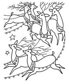Christmas Santa Coloring Sheet - Santa's Reindeer pull the Sleigh