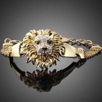 14k Gold Plated Bracelet LIONS HEAD pure grace & beauty adjustable length Womens Animal Jewelry