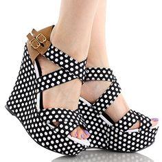 Qupid Women's Finder Open Toe Wedge Sandals,9 B(M) US,Black Polka Dot