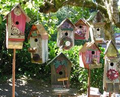 Funky junk birdhouses. Obviously I need more junk!