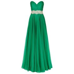 Jovani Jewel Bustier Chiffon Gown ($1,250) ❤ liked on Polyvore featuring dresses, gowns, empire waist evening dresses, chiffon gown, chiffon dress, green cocktail dress and holiday dresses