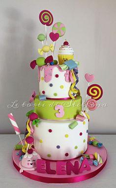 Candyland cake - Cake by graziastellina Beautiful Cakes, Amazing Cakes, Birthday Cake, Birthday Parties, Candy Cakes, Cupcake Cookies, Cupcakes, Candyland, Celebration Cakes