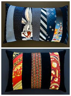Creative process of transforming vintage scarves and neckties into unique handmade novelty pillows that won't be found anywhere else ! More themes on Ties2pillows.com…