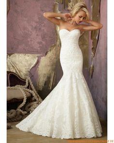 2013 Neue elegante Brautkleider aus Satin Meerjungfrau Herzausschnitt mit Schleppe