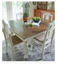 Square Baluster Table In Farmhouse Style Kitchen With XBack Dining - Distressed square dining table