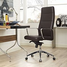 Sleek, stylish and comfortable, the Stride Vinyl Highback Office Chair by Modway is the perfect addition for your work space. A swivel seat and caster wheels let you move around freely, and the waterfall seat and tall back provide comfort and support. Girls Desk Chair, Desk Chairs, Office Chairs, Bar Chairs, Bankers Chair, Office Chair Without Wheels, Conference Chairs, Mesh Office Chair, Upholstered Dining Chairs