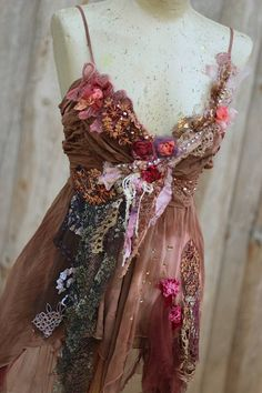 Rosybrown and cinnamon tunic/top, bohemian romantic, altered couture, vintage textiles