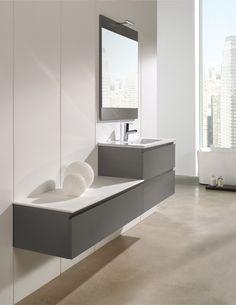 Greeploos meubel, leverbaar in verschillende maten met enkele of dubbele wasbak #exclusief #belo #gelakt #hout #meubel #badkamer