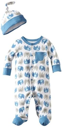 Amazon.com: Offspring- Baby Boys Elephant Footie with Hat: Clothing
