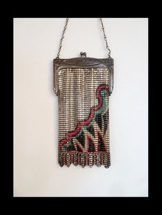 ~Whiting & Davis~Art Deco Painted Mesh Flapper Bag~Circa 1920s~