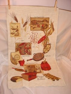 Vintage Linen Kitchen Towel Peace and Plenty Harvesting the Wheat 16 by 30 Bread Seller florasgarden on ebay
