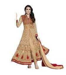Buy Cream embroidered georgette unstitched salwar with dupatta Online