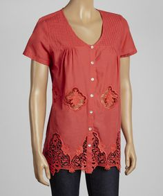 This Coral Lace Button-Up Top by Simply Irresistible is perfect! #zulilyfinds