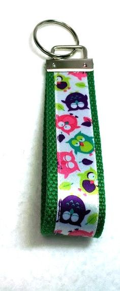 Green Colorful Tossed Owls Key Fob Key Ring by GabbysQuiltsNSupply, $5.00