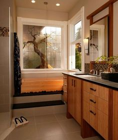 18 Astonishing Japanese Style Bathroom Design Ideas: Stunning Asian Themed Master Bath With Nuetral Shades And Lovely Bamboo Cabinetry Zen Bathroom Design, Bathroom Styling, Bathroom Interior, Bathroom Designs, Bathroom Ideas, Bathroom Organization, Master Bathroom, Bathroom Storage, Bathroom Inspiration