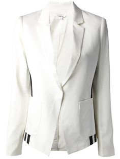 Ivory wool 'Brandy' blazer from Elizabeth And James featuring notched lapels, a button fastening, pouch pockets, contrasting black stripes running down the sides, a rear central vent and long sleeves. White Tux Jacket, Celebrity Look, Elizabeth And James, Blazers For Women, Black Stripes, Stella Mccartney, Alexander Mcqueen, Street Style, Soho Soho