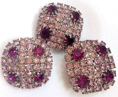 Beautiful Vintage Antique Pink And Purple Square Rhinestone Buttons Set Of 3