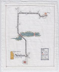 "Memory map: ""Memory map of a route in my hometown, St. Stitched map illustration onto white linen fabric. Embroidery Art, Embroidery Stitches, Map Quilt, Quilt Blocks, Textiles, Map Art, Linen Fabric, Textile Art, Needlework"