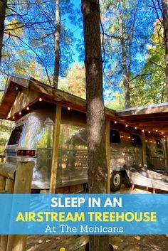 """Experience a unique glamping adventure in the """"Silver Bullet"""" vintage Airstream Treehouse at The Mohicans Treehouse Resort in Ohio. #Ohio #Ohiotravel #glamping #treehouse #Airsteam #Airstreamtreehouse #camping #TheMohicans #uniqueovernight Travel With Kids, Family Travel, Road Trip Destinations, Vintage Airstream, Outdoor Fun, Weekend Getaways, Vacation Spots, Glamping, Ohio"""