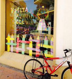 #Escaparate Vuelta al cole 2014 #farmacia Eduina, Palma Rio, Córdoba.  #bicileta