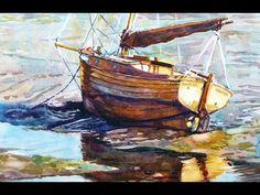 """Jaynee Bee. 12"""" x 18"""" Watercolour. Jaynee Bee, waiting for the tide, this is Salcombe, Devon, UK."""