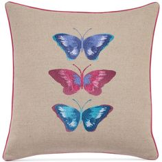 "bluebellgray Embroidered Butterflies Linen 16"" Square Decorative... ($70) ❤ liked on Polyvore featuring home, home decor, throw pillows, linen, embroidered throw pillows, cream throw pillows, bluebellgray, embroidered accent pillow and butterfly home decor"