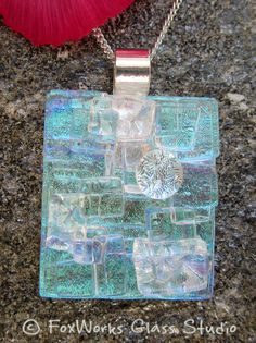 Light blue dichroic fused glass Mosaic Pendant by FoxWorksStudio on Etsy